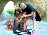 Two black slut fucked in a cave